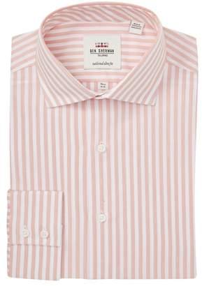 Ben Sherman Dobby Bengal Stripe Tailored Slim Fit Dress Shirt