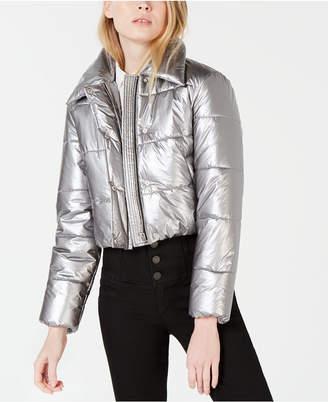 Bar III Cropped Metallic Puffer Jacket, Created for Macy's