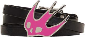 McQ Black and Pink Swallow Triple Wrap Bracelet