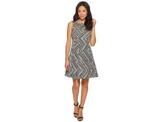Tahari ASL Petite Metallic Print Fit-and-Flare Dress Women's Dress