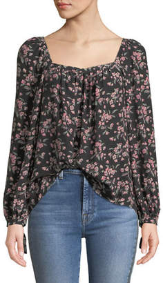 Rebecca Taylor Tilda Floral Shirred Long-Sleeve Charmeuse Top