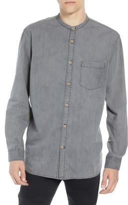 French Connection Slim Fit Band Collar Denim Shirt