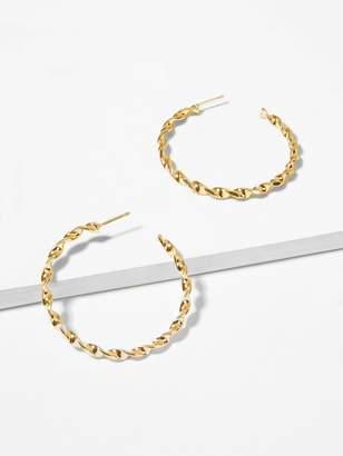 Shein Spiral Detail Open Hoop Earrings 1pair