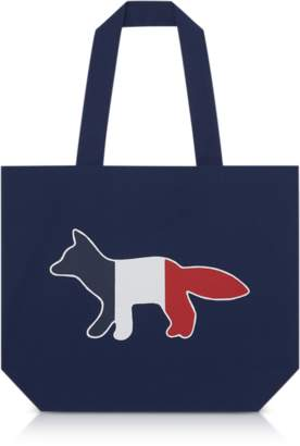MAISON KITSUNÉ Tricolor Fox Patch Canvas Tote Bag