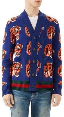 Gucci Tiger Jacquard Wool Cardigan, Dark Blue $1,380 thestylecure.com