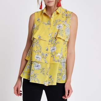 River Island Womens Yellow floral layered frill sleeveless shirt