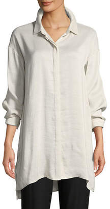 Eileen Fisher Silk Doupioni Long Shirt