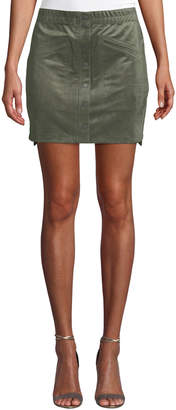 BCBGMAXAZRIA Snap-Button Faux-Suede Mini Skirt