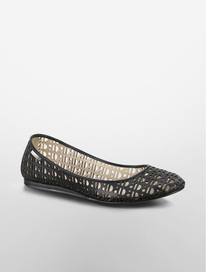 Calvin Klein Black Shyann Cutout Leather Ballet Flat