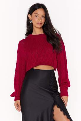 Nasty Gal Oh How the Cables Have Turned Cropped Knit Sweater