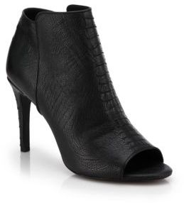 Joie Gwen Snake-Embossed Leather Open-Toe Ankle Boots