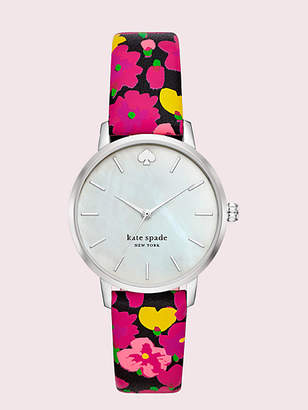 Kate Spade Metro Floral Leather Watch, Black