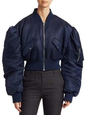 Calvin Klein Satin Crop Bomber Jacket