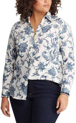Chaps Plus Size Print No-Iron Shirt