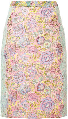 Sandy Liang jacquard and lace pencil skirt