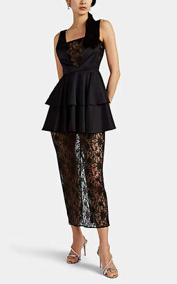 KALMANOVICH Women's Satin & Floral Lace Layered Dress - Black