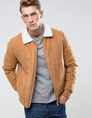 ONLY & SONS Faux Suede Jacket With Borg Collar