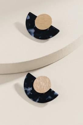 francesca's Zane Resin Stud Earrings - Black