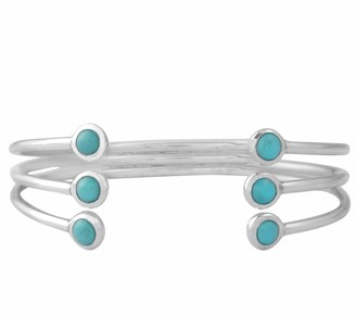 Sterling Turquoise Triple Row Cuff Bracelet
