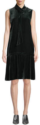 Lafayette 148 New York Abbie Tie-Neck Sleeveless Velvet A-Line Dress