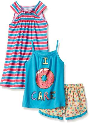 Komar Kids Big Girls' 3 Piece Sleepwear Donut Short Set with Stripe Gown