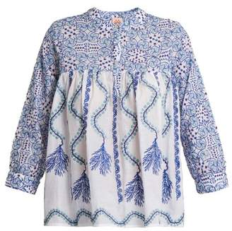 Le Sirenuse, Positano - Kantha Shell Print V Neck Cotton Shirt - Womens - Blue Print