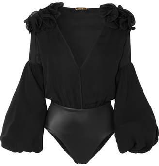 Johanna Ortiz - Ruffled Silk-blend Chiffon Bodysuit - Black