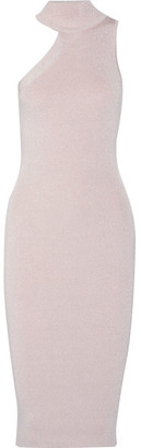 Cushnie et Ochs - Metallic Ribbed Stretch-knit Turtleneck Midi Dress - Pastel pink $995 thestylecure.com
