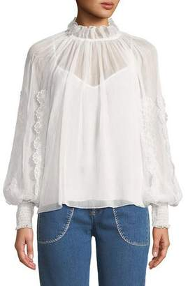 See by Chloe V-Neck Floral Cutout Long-Sleeve Blouse
