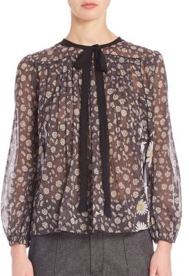 Marc Jacobs Marc Jacobs Sheer Floral Peasant Blouse