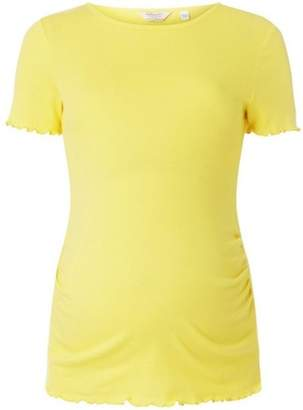 Dorothy Perkins Womens **Maternity Lemon Short Sleeve Lettuce Trim T-Shirt
