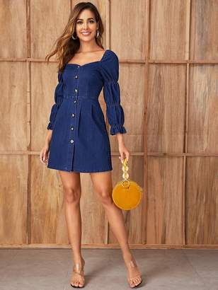 Shein Gathered Sleeve Sweetheart Neck Denim Dress