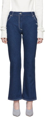Off-White Off White Blue Cropped Leg Jeans