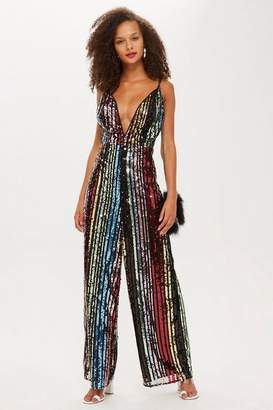 Topshop Rainbow Sequin Jumpsuit