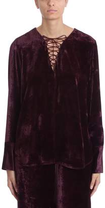 Stella McCartney Lace Up Burgundy Velvet Blouse