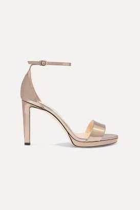 Jimmy Choo Misty 100 Metallic Leather Platform Sandals - Gold