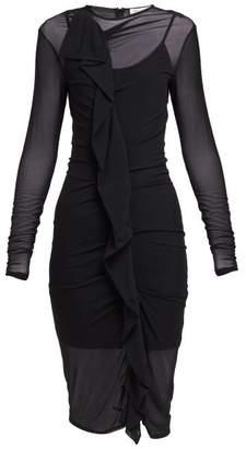 Maison Margiela Ruffled Mesh Dress - Womens - Black