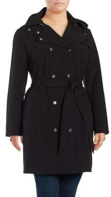Calvin Klein Petite Double-Breasted Trench Coat