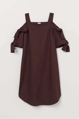 H&M Open-shoulder Dress - Brown