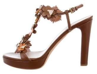 Prada Floral T-Strap Sandals