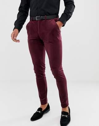 Asos Design DESIGN super skinny pants in burgundy velvet