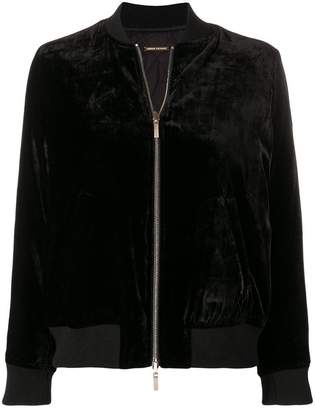 Armani Exchange velvet effect bomber jacket