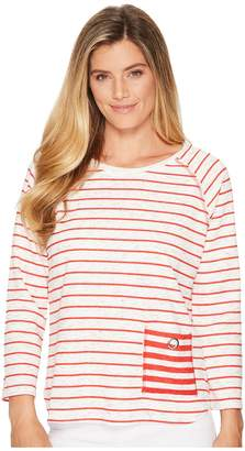 Elliott Lauren Raw Edge 3/4 Sleeve Top with Eyelet Pocket Detail Women's Long Sleeve Pullover