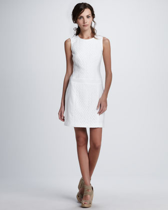 Laundry by Shelli Segal Lace-Detail Linen Dress