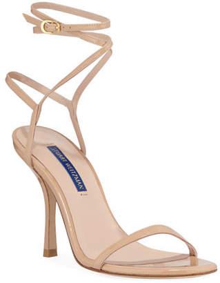 ae104514e6b Stuart Weitzman Merinda Strappy Patent Ankle-Wrap Sandals