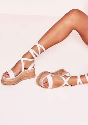 8aee8919c2b Missy Empire Missyempire Jolene White Croc Print Tie Up Espadrille Platform  Sandals
