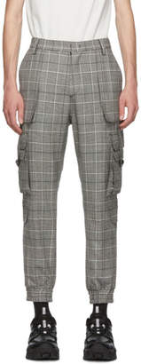 Juun.J Black and Grey Plaid Tapered Cargo Pants