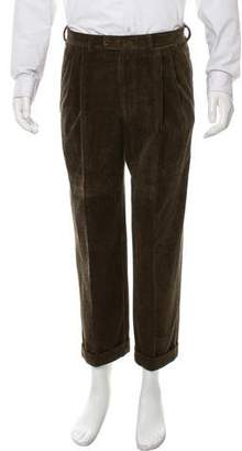 Hermes Flat Front Casual Corduroy Pants
