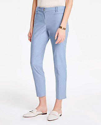 Ann Taylor The Tall Cotton Crop Pant in Chambray
