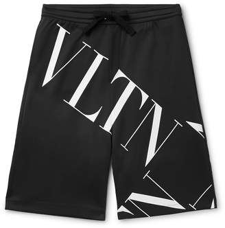 Valentino Logo-Print Tech-Jersey Drawstring Shorts